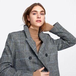 Zara Double-Breasted Plaid Coat
